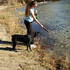 At the pond, Kimberly started fetching lessons with her mighty and fearless Lab watchdog, Emma.