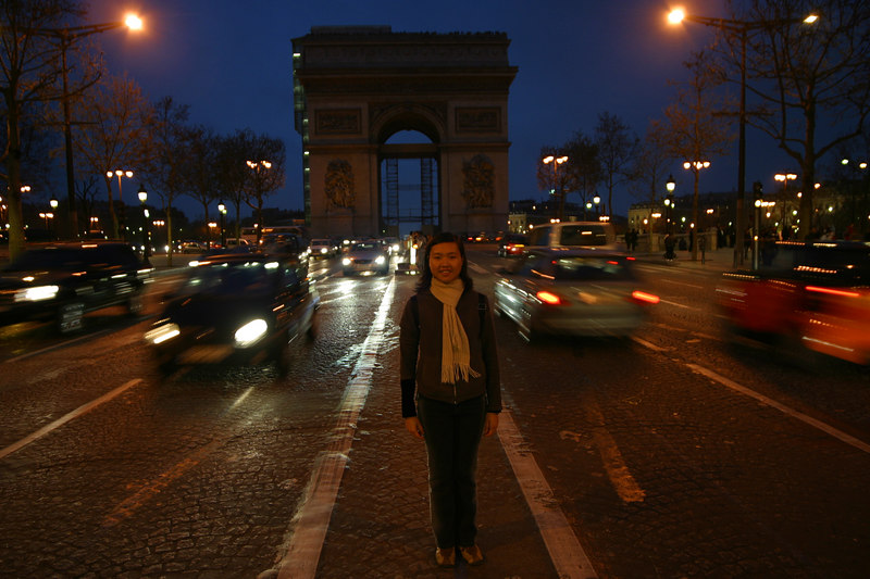 Standing in the middle of Champs-Élysées
