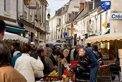 Great Outdoor Market in the streets of Loches.