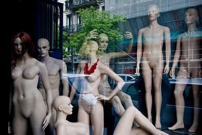 Creepy mannequin shop window.