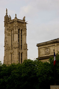 "Tour Saint-Jacques in the 4th district. This 171 ft Flamboyant Gothic tower is all that remains of the former 16th century Church of Saint-Jacques-de-la-Boucherie (""Saint James of the butchery"") which was leveled shortly after the French Revolution."