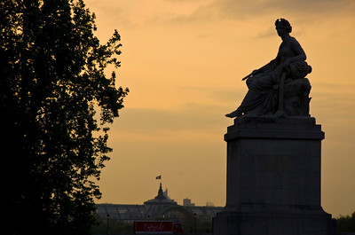 The sun setting over Paris.