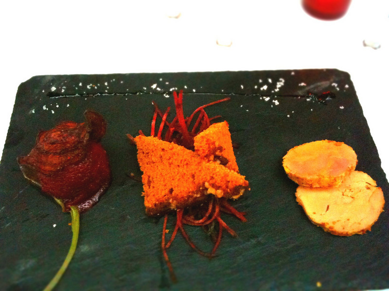 This was a delicious appetizer. Beet sorbet, gingerbread and Foir Gras.