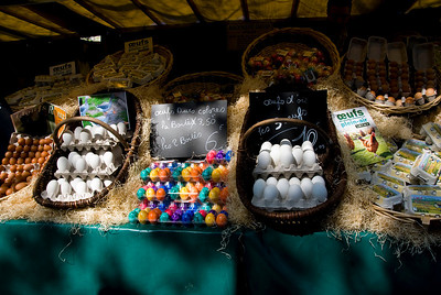 Eggs of all sorts at this stand, even pre-colored for Easter.