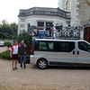 This picture was taken in front of our first night's lodging. After checking in and a champagne welcome (about 10:00 in the morning)  the guides took us on our first short afternoon of bike riding, returning back to the hotel.   <br /> <br /> After freshening up, the van took us to a restaurant for what would be a series of fantastic gourmet evening meals.  FYI, all  of our lodgings were in amazing chateaux  which had been converted to high-end hotels.  We rode six days and had lodging provided for five nights in four different hotels.  <br /> <br /> These two guys were our guides for the bike tour --  Simon & JB  (John Baptist).  Simon is a Brit and JB a Frenchman.  Simon leads a rough life.  He does bike tours in the summer, then off to the Greek isles for scuba diving tours, then to Switzerland as a ski instructor in the winter.