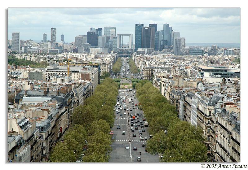 24. View of La Defense, business district of Paris.