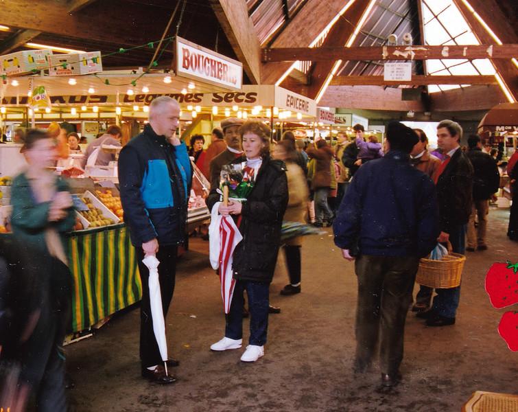 Robert and Nancy in the farmer's market.