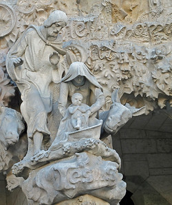 Details from the Nativity Facade, opposite the Passion Facade and the part most directly managed by Gaudi, with a neo-Gothic styling he designed and managed construction.