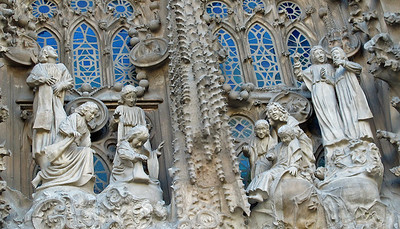 Details of the Nativity Facade which depicts scenes from the story of Christ's birth to Mary.