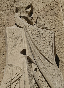 Details of the Passion Facade which depicts scenes from the story of Christ's crucifixion.