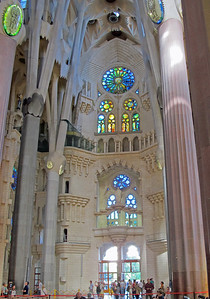 The incredible interior of the Sagrada Familia. The columns are like trees with branches that fan out near the top.