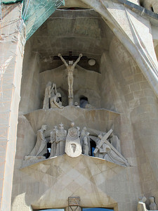 Expanded view of the center scenes of the Passion Facade.