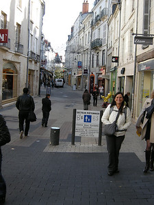 A pedestrian-friendly street in the lower area of Blois, near the river.