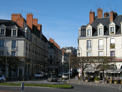 Looking back towards the center of Blois from the north end of the Pont (bridge.)