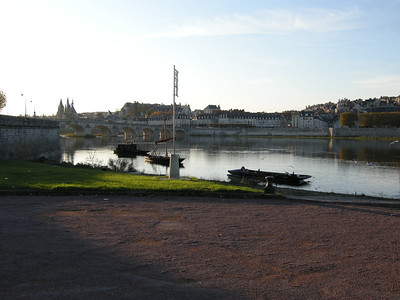 This and the following three photos are combined into a panorama immediately following; they show the skyline of Blois, taken from a small park on the south bank of the Loire.