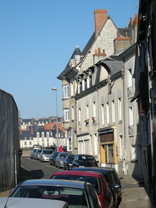 A side street near where Michele's mom now lives. We dropped off our bikes and walked with Michele's mom across the bridge into the main part of Blois.