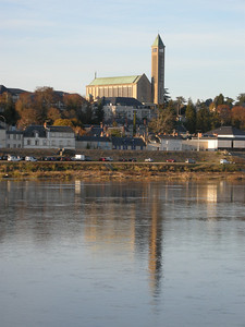 Another old church of Blois, its steeple reflected in the Loire.