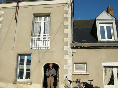 """Yes, I had to learn to duck when going through doorways of older buildings. This is the front door of """"Chateau Bordier."""" The house itself is of indeterminate age, with many modifications accreted over the years."""