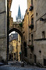 Rue de la Cadene in Saint Emilion with a view of the Bell Tower of the Monolithic Church