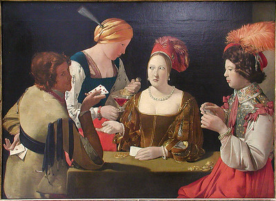 Painting of The Cheat with the Ace of Clubs (Late 1620s) by  La Tour, Georges de  (French, 1593-1652)