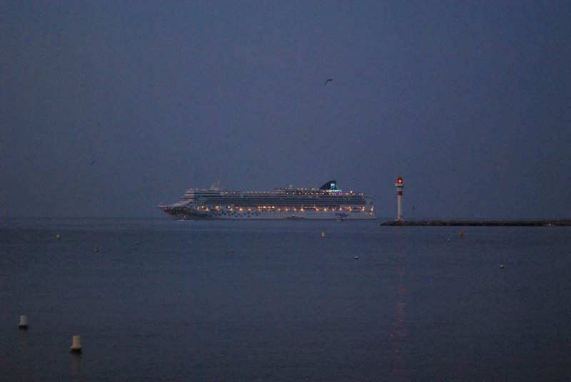 Cruise ship off of the French Riviera early in the morning.