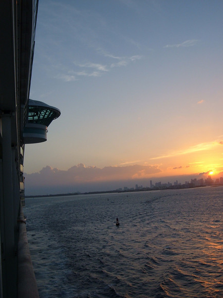 Sunset over Miami,<br /> the round thing sticking out is a hot tub :)<br /> a big one  lol