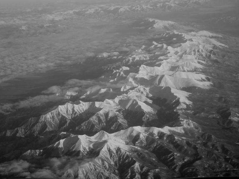 April 2,  2017.  6:55 flight to Los Angeles.  Crossing the Rockies