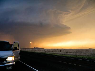 Supercell at sunset