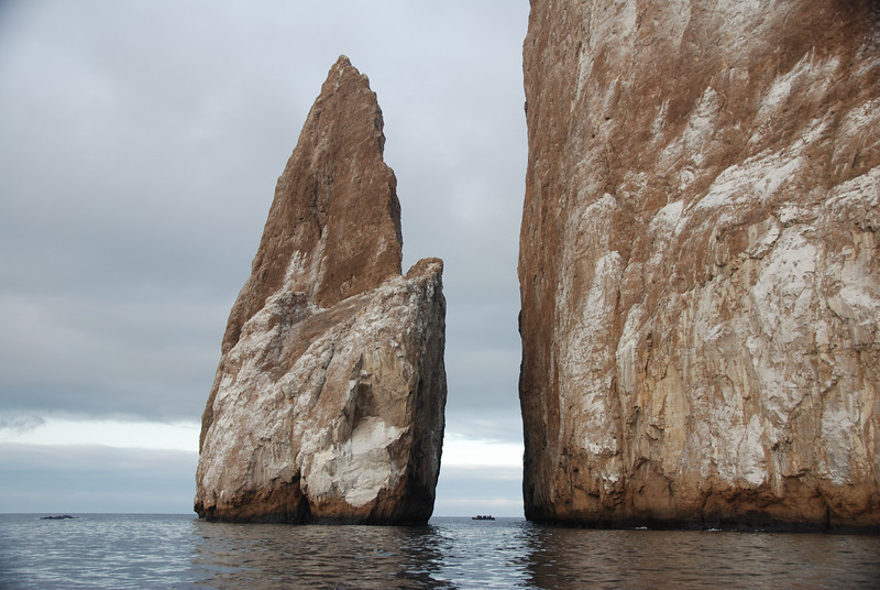 If you look between the two rocks, you can see a zodiac.  This will give you some sense of the size of Kicker Rock.  Huge.