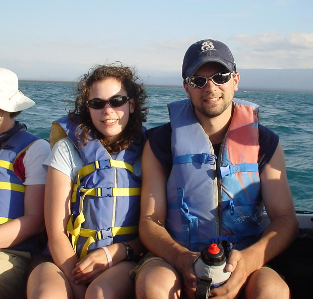 Aboard our dinghy, on the way to an island excursion.