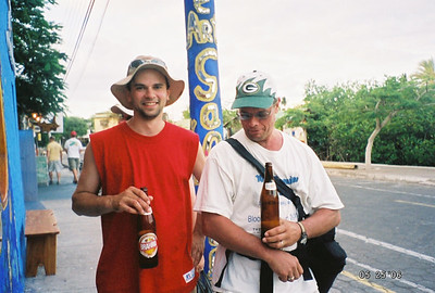 Walking around the port on our only day of civilization, after the Darwin Research Center tour.  I found the Brahma to be the best tasting beer on the trip.  Thankfully the bottles were big enough to convince Dad and Randy to share!