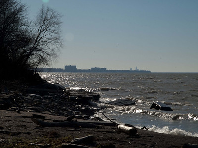 On the shores of Lake Eire in Timberlake, Ohio viewing downtown Cleveland.