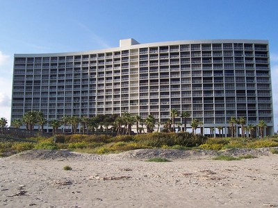 The beach-side view of our condo, the Galvestonian.