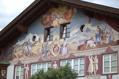 Several buildings in Garmisch-Partenkirchen have these murals painted on the outside