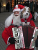 Santa and Santa Dog, not the only Man, dog, accordian combination. Although Clown and Clown Dog were not quite in the correct spirit.