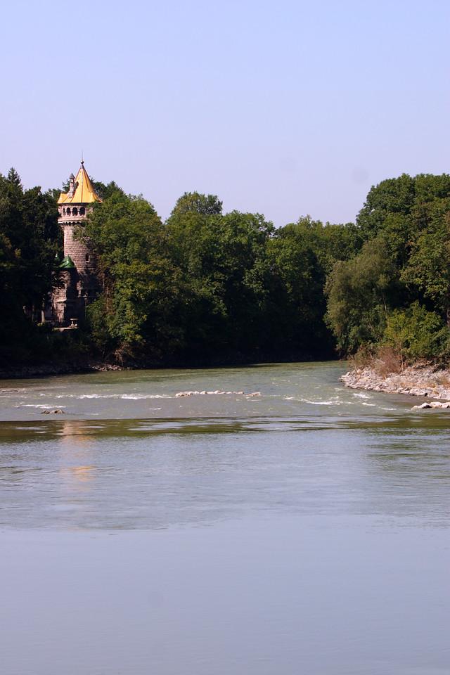 View of Mutterturm across the Lech - Landsberg am Lech