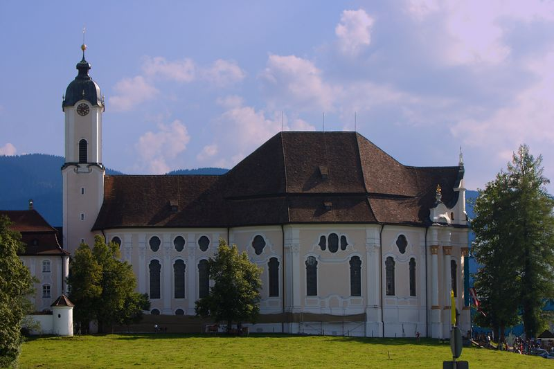 Wieskirche (Pilgramage Church) - This Baroque church lies on a meadow at the foot of the mountains.  Though pictures were not allowed inside the church, the light poured in through the windows on beautiful rococo paintings.