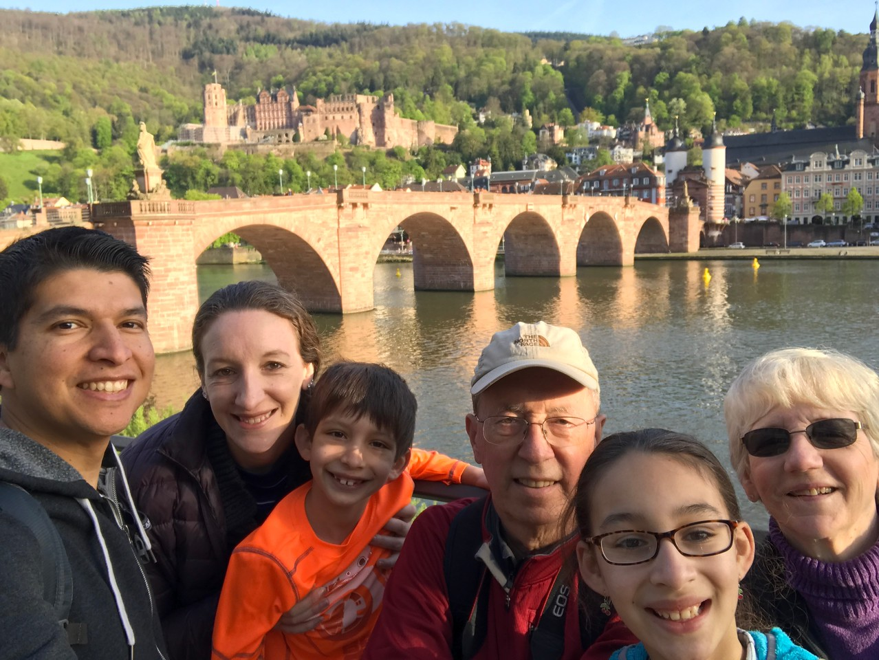 Us and Old Town Heidelberg from along the banks of the Neckar River.