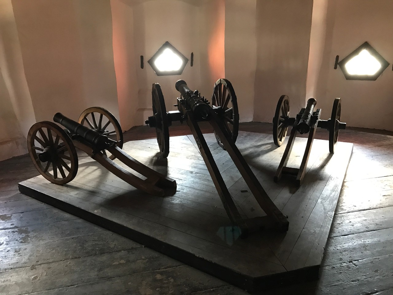 A display of some of the canons used in Pfalzgrafenstein Castle to force ships to stop and pay tolls.