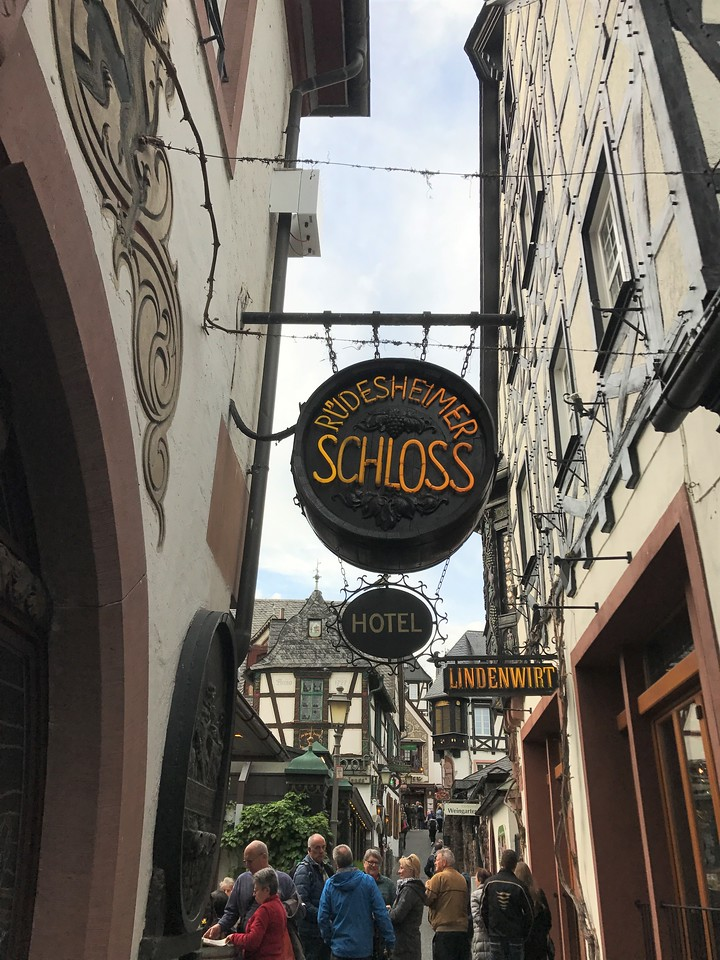 Along the Drosselgasse, a narrow lane adjacent to the Hotel, lined with wine bars and shops.  A favorite of tour groups as we found out.