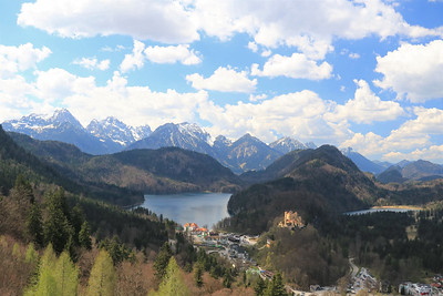 A view of the surrounding mountains and Hohenschwangau from a balcony at Neuschwanstein.
