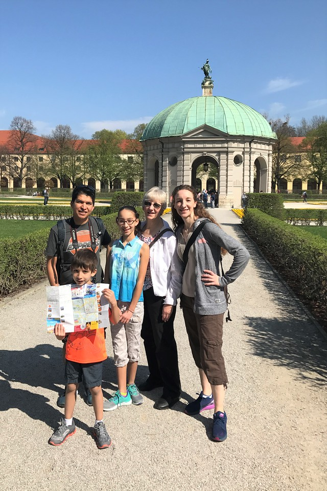 In the Hofgarten or Residence Garden, in front of Diana's Temple.  This was the palace garden of the Wittelsbach dynasty and dates to the 1300's.