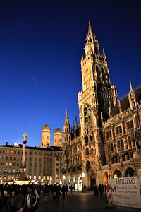 Marienplatz, the Neues Rathaus and, in the distance, the towers of the Frauenkirche cathedral (The Church of Our Lady).