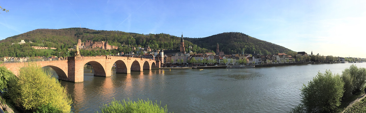 Old Town Heidelberg, the Alte Brucke and the Castle viewed in a panorama  along the Neckar River.