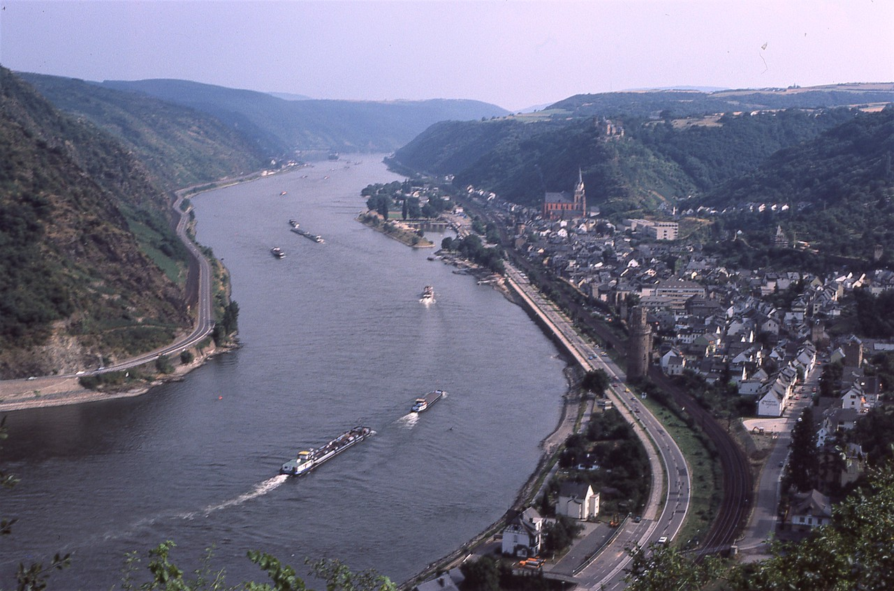 We crossed to the other side of the Rhine in Koblenz and drove towards our next destination, the castle, Burg Schönburg above the own of Oberwesel.  Schönburg castle can be seen in the distance on the hilltop just a little right of center in a photo I took back in 1983 when we visited this area.