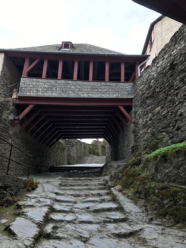 This covered passageway is where knights would ride their horses into the castle in full armor.