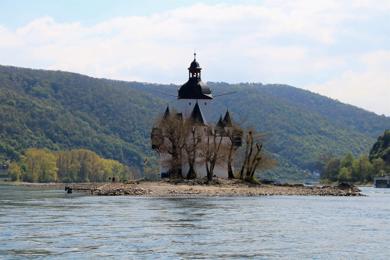 Pfalzgrafenstein Castle on an island in the middle of the Rhine.
