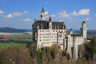 A close-up of Neuschwanstein Castle.