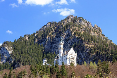 A view of Neuschwanstein Castle from near Hohenschwangau.  It was Ludwig II's favorite of his 3 castles, but he only lived here for 170 days.  The palace construction had put a strain on the royal coffers and Ludwig's increasingly erratic behavior led a government commission to dethrone him as king.  Three days later he was found dead.