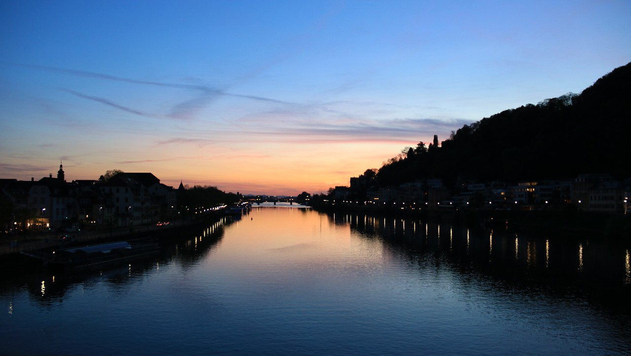 Sunset over the Neckar River from the middle of the Alte Brucke.